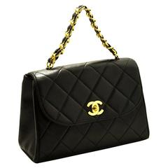 CHANEL Gold Chain Handbag Bag Black Leather Flap Quilted Lambskin
