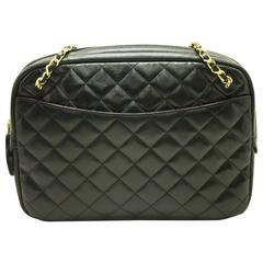CHANEL Chain Shoulder Bag Black Leather Quilted Lambskin Office