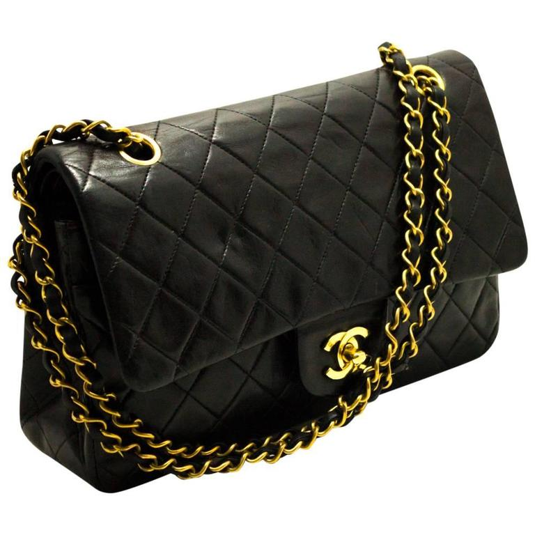 Chanel 2 55 Double Flap 10 Chain Shoulder Bag Black Quilted Lamb For