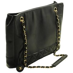 CHANEL Chain Shoulder Bag Black Quilted Lambskin Leather Office