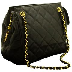 CHANEL Caviar Small Chain Shoulder Bag Black Quilted Zippered