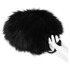 Black fox fur and down muff hand warmer secret compartment 1940s