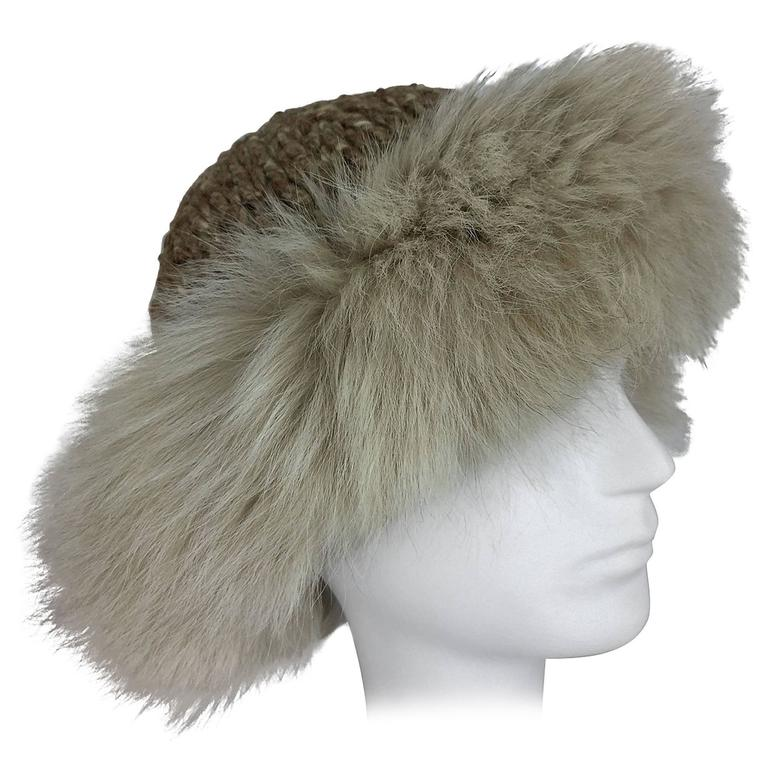 Lillie Rubin Fox fur and cocoa tweed knit hat 1970s unworn For Sale