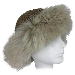 Lillie Rubin Fox fur and cocoa tweed knit hat 1970s unworn