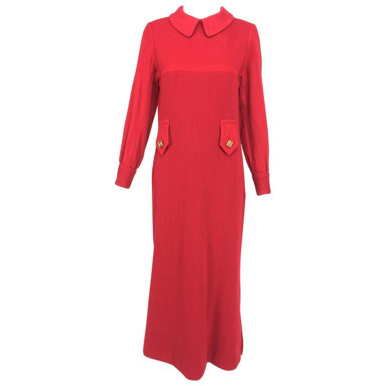 Galanos Mod red wool flannel and corded wool midi dress 1960s