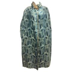 Art Deco Louis & Cie  Paris teal silk cut velvet gold lame evening cape 1920s
