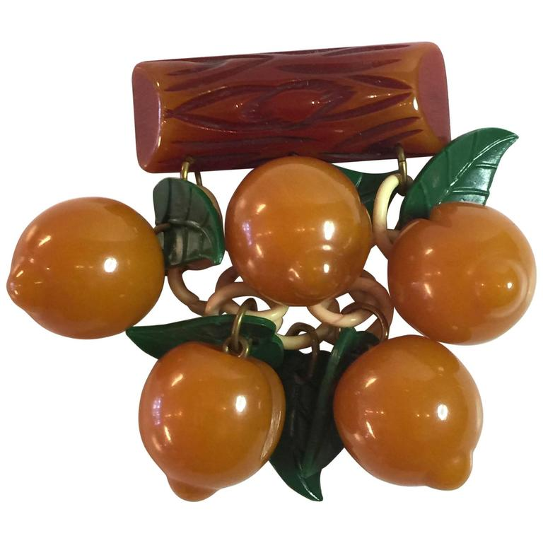 1930s Bakelite APRICOTS Pin/Brooch For Sale