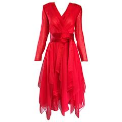 Amazing Vintage Luis Estevez 1970s Lipstick Red Handkerchief Hem Chiffon Dress