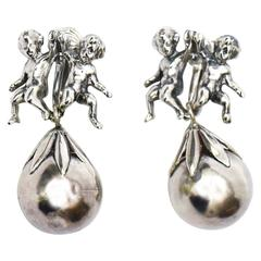 Pair of Italian Signed Cini Sterling Silver Cherub Dangle Earrings