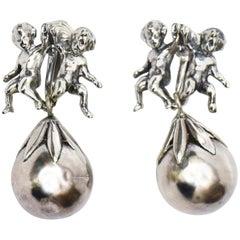 Italian Cini Sterling Silver Mid Century Modern Cherub Clip On Dangle Earrings