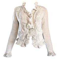 Moschino Couture 1990s Vintage ' Sea Horses & Sea Shells ' 90s Novelty Cardigan