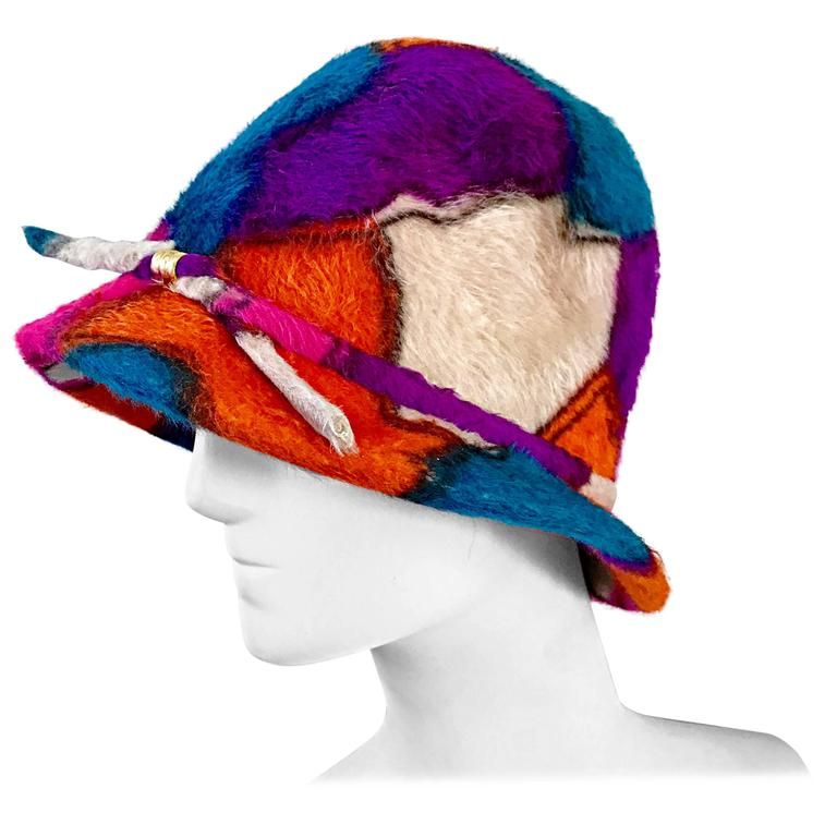 Yves Saint Laurent YSL Color Block Abstract Print Vintage Hat, 1960s  For Sale