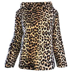 Chic 1960s Faux Fur Leopard Cheetah Print Vintage 60s Long Sleeve Sweater Top