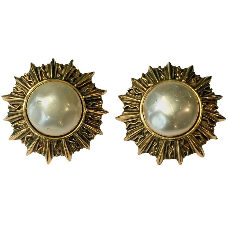 Chanel Classic Faux Pearl Sun Clip On  Earrings 1