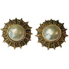 Chanel Classic Faux Pearl Sun Clip On  Earrings