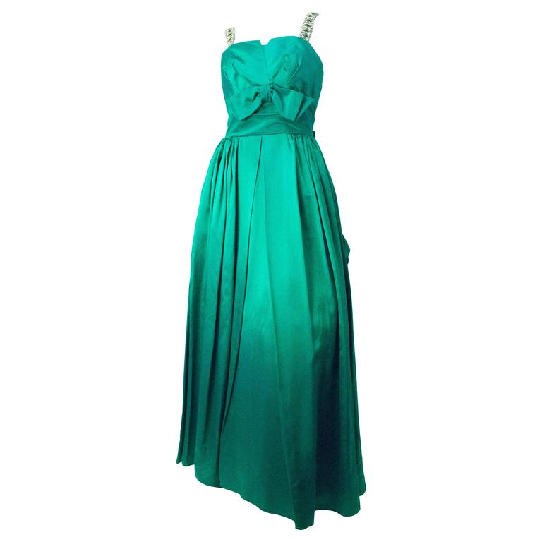 60s Emerald Green Satin Gown For Sale at 1stdibs
