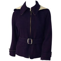 60s Navy Wool Jacket with Pointed Hood