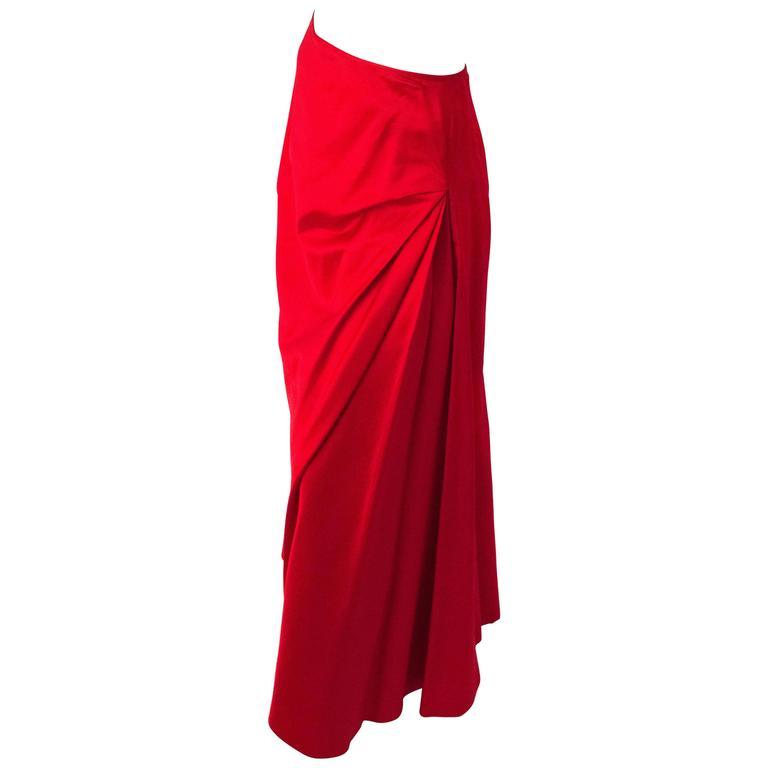 90s Melinda Eng Red Silk Skirt For Sale