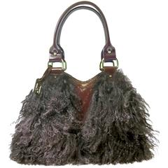 Vintage Fendi Couture Lambs Wool Burgundy Patent Leather Bag