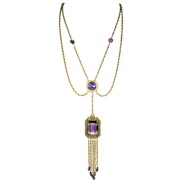 Vintage Goldette Cameo Faux Amethyst Chatelaine Necklace