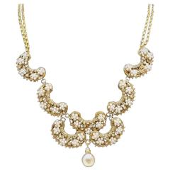 Early 1930s Miriam Haskell Faux Pearl Scallop Necklace
