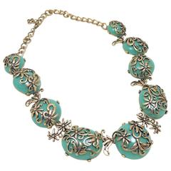 Vintage Oscar De La Renta Floral & Dome Shaped Faux Green Turquoise Necklace