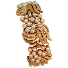 Vintage Wide Trifari Faux Gold Tone Faux Pearls Brace