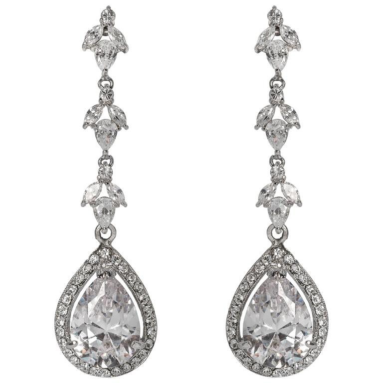 Charming Long Faux Diamond Vine Earrings For Sale At 1stdibs