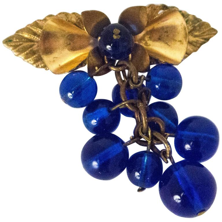 30s Cobalt Blue Glass Berry Brooch 1