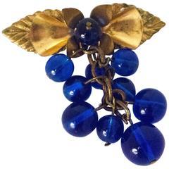 30s Cobalt Blue Glass Berry Brooch