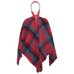 C.1950 Plaid Ski Wear Poncho by Irving of Montreal for Saks Fifth Avenue