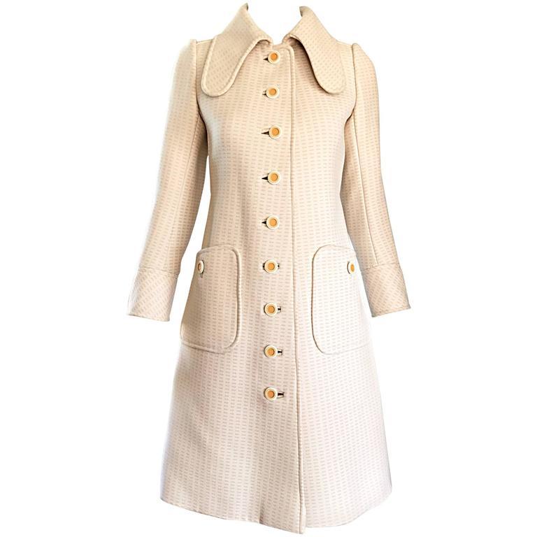 1960s Courreges Haute Couture Rare Vintage Ivory Orange Mod Wool 60s Jacket Coat 1