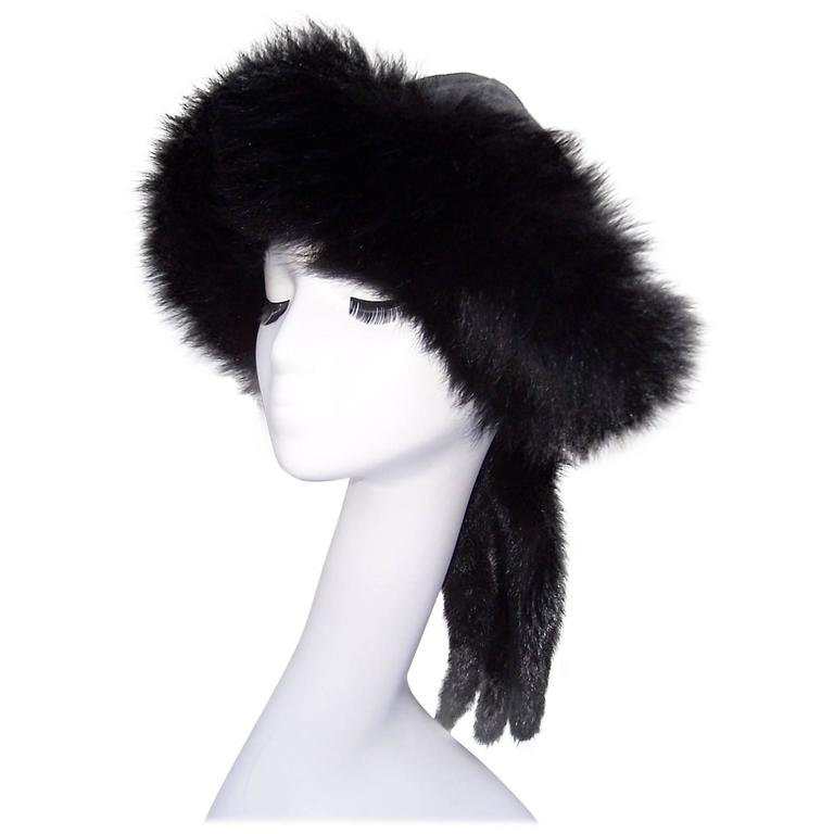 Vintage Mongolian Style Black Fox Fur & Leather Hat With Detachable Tails 1