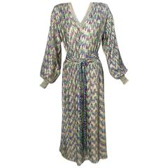 1970s Missoni Purple Gold and Teal Metallic Knit Dress with Matching Belt