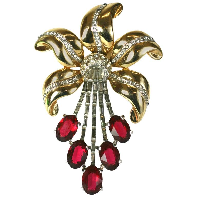 Huge Coro Retro Ruby Lily For Sale