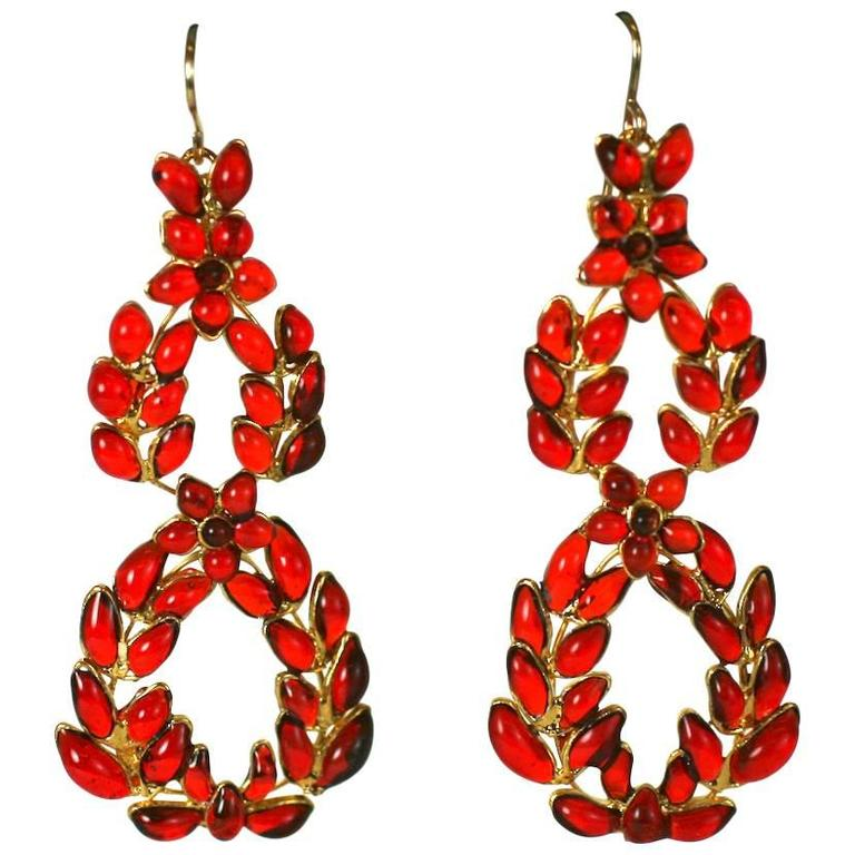 "MWLC Ruby Poured Glass ""Garland"" Earrings 1"