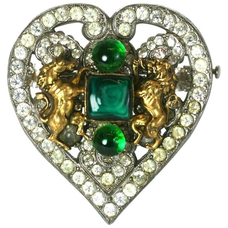 CoCo Chanel Byzantine Heart Crest Brooch 1