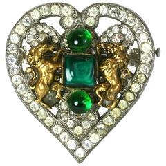 CoCo Chanel Byzantine Heart Crest Brooch