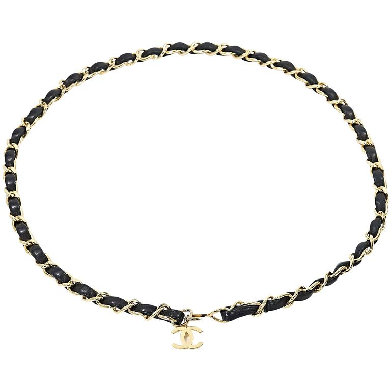 black chanel leather chain belt at 1stdibs