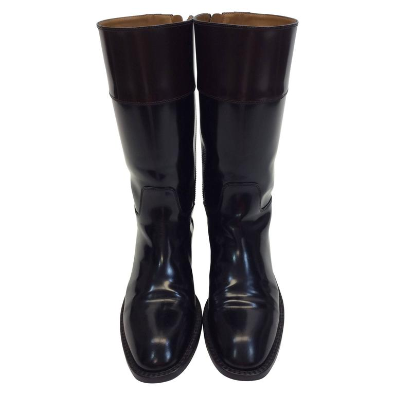 laurent black and brown patent leather boots for