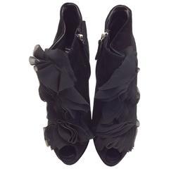 Giuseppe Zanotti Black Suede Ruffle High Heels