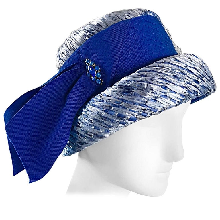 1950s Beresford NWT Deadstock Blue Straw + Silk Ribbon Jewled 50s Vintage Hat  For Sale