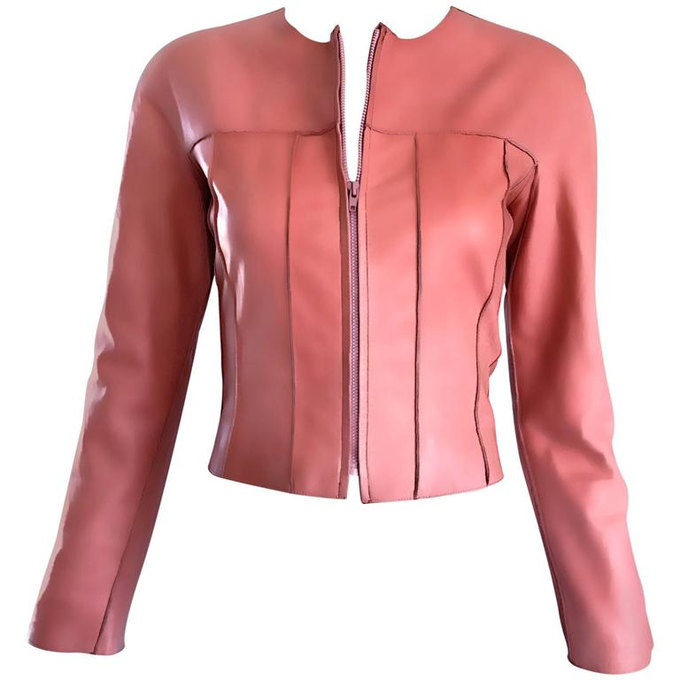 Vintage Chanel Bubblegum Pink Leather Spring Summer 1999 Runway Cropped Jacket