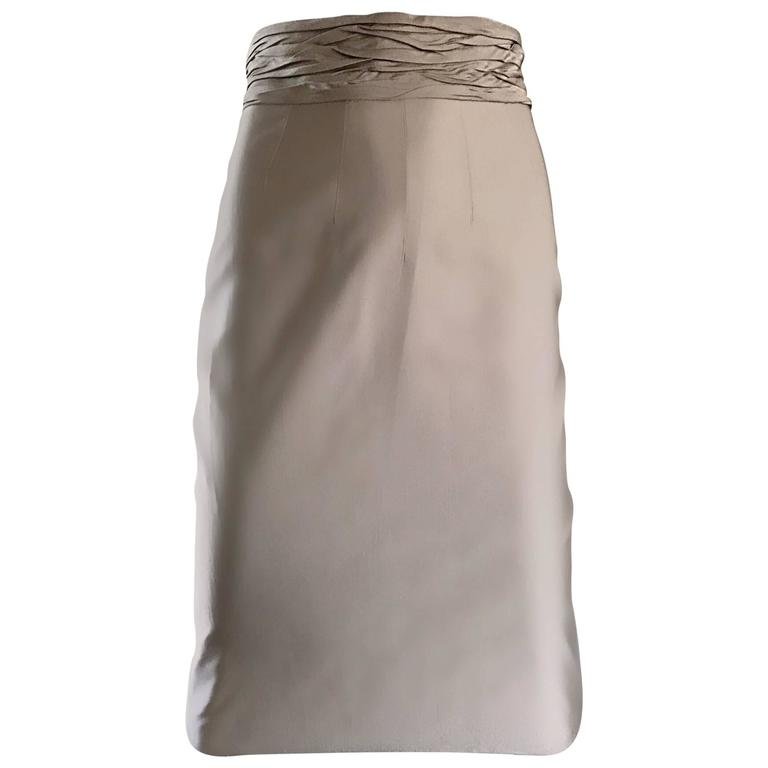 Prada Vintage 1990s Runway Khaki High Waisted 90s Fitted Pencil Skirt  For Sale