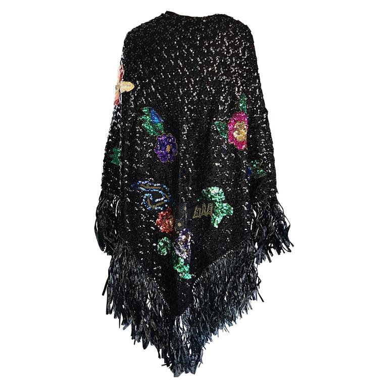 Incredible 1970s Black Sequined Raffia Oversized Jumbo Vintage 70s Piano Shawl