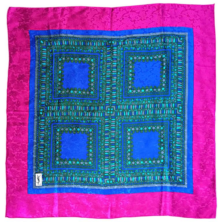 Vintage Yves Saint Laurent YSL Oversized 1970s Pink + Blue 70s Silk Scarf