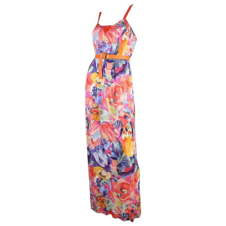 1970's Missoni Silk Jersey Floral Gown For Sale