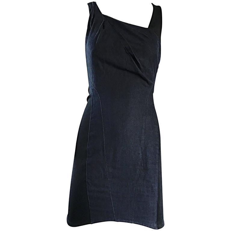 93344c6be7e6 1990s Helmut Lang Indigo Denim and Black Vintage Bodycon ' Bondage ' 90s  Dress For Sale