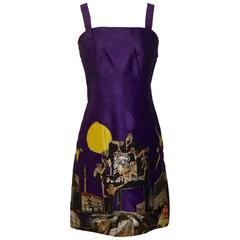 Versace 2008 Purple Silk Tim Roeloffs Photo Collage Cocktail Shift Dress
