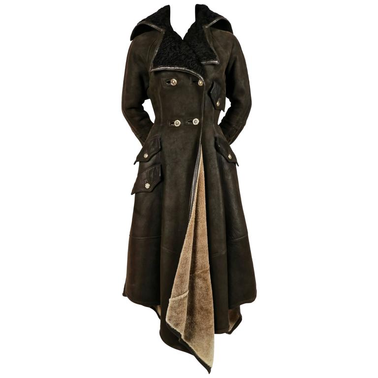 1993 GIANNI VERSACE olive shearling runwy coat with Astrakhan trim